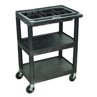 Luxor Small 3 shelf Utility Black Cart with Top Tub Shelf with Removable Tray Dividers