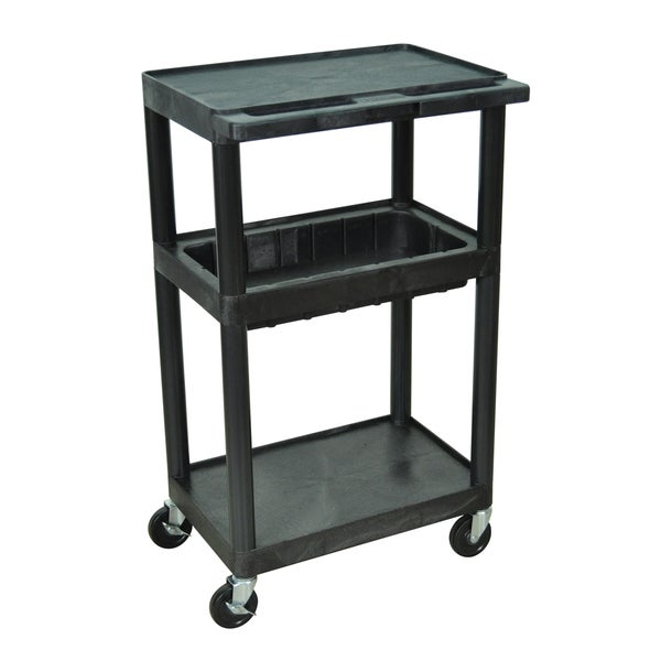 Luxor Black Utility Cart with Middle Tub Shelf and Flat Top and Bottom Shelves