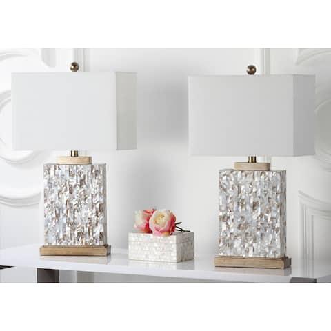 "Safavieh Lighting 25-inch Tory Sea Shell Table Lamp (Set of 2) - 15""x8""x24.5"""