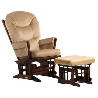 Dutailier Coffee/ Light Brown Multi-position Recline 2-post Glider and Nursing Ottoman S