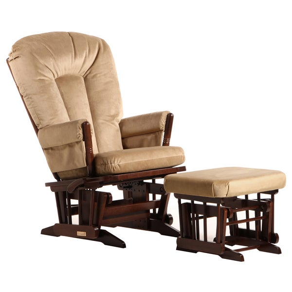 Dutailier Coffee/ Light Brown Multi-position, Recline 2-post Glider and Nursing Ottoman