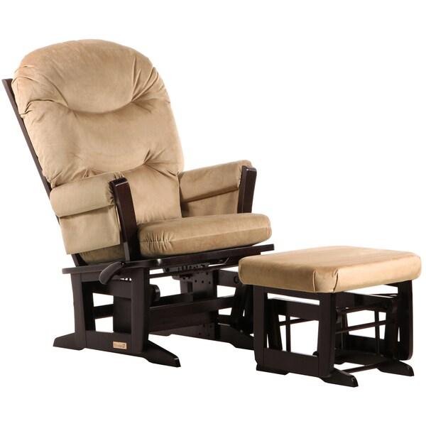 Dutailier Espresso/ Light Brown Multi-position, Recline Modern Glider and Nursing Ottoma