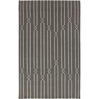 Hand-woven Lelystad Grey Wool Rug (9' x 13')