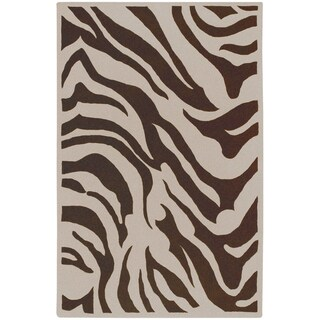 Hand-tufted Brown/White Zebra Animal Print Gelderland  Wool Rug (9' x 13')