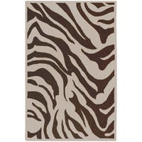Hand-tufted Brown/White Zebra Animal Print Gelderland Wool Area Rug - 9' x 13'