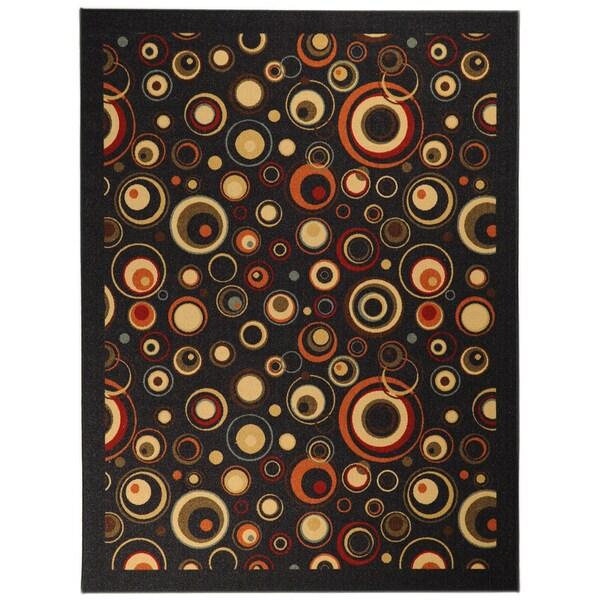 "Non-Skid Ottohome Black Contemporary Circles Area Rug (3'3"" x 5')"