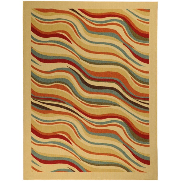 Non-Skid Ottohome Ivory Contemporary Waves Area Rug (5' x 6'6)