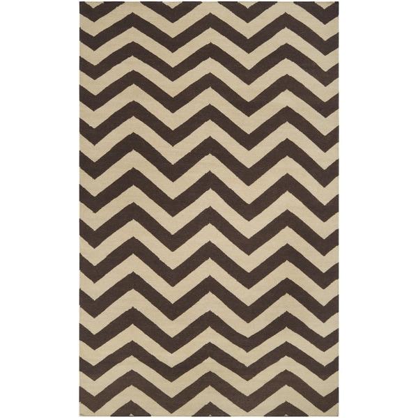 Hand-woven Workum Brown Wool Area Rug - 9' x 13'