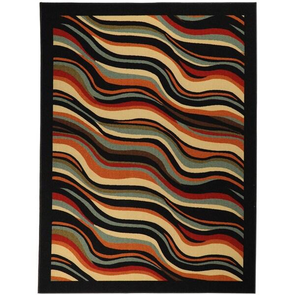 Non-Skid Ottohome Black Contemporary Waves Runner Rug (2' x 7')