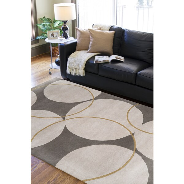 Hand-tufted Buren Grey Geometric Circles Wool Area Rug - 9' x 13'