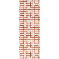 Hand-tufted Zutphen Orange Geometric Wool Area Rug - 2'6 x 8'