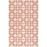 Hand-tufted Zutphen Orange Geometric Wool Area Rug - 3'3 x 5'3