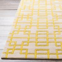 Hand-tufted Deil Yellow Geometric Wool Area Rug - 3'3 x 5'3