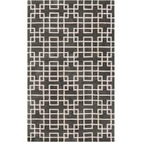 Hand-tufted Sittard Grey Geometric Wool Area Rug - 2' x 3'