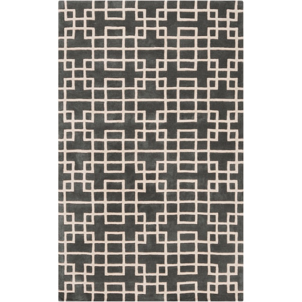 Hand-tufted Sittard Grey Geometric Wool Area Rug - 5' x 8'