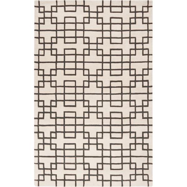 Hand-tufted Stein Grey Geometric Wool Rug (2' x 3')