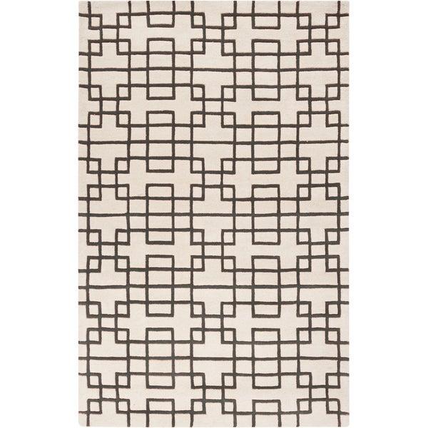 Hand-tufted Stein Grey Geometric Wool Area Rug - 8' X 11'