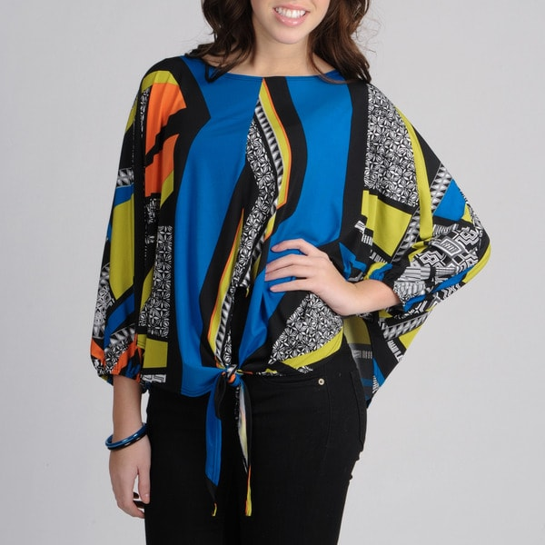 AnnaLee + Hope Women's Geometric Print Tie-front T