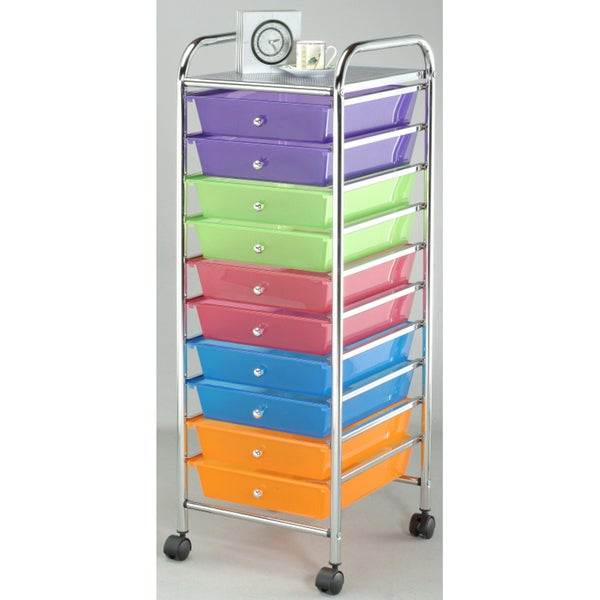 Organizer with Rainbow Color Plastic Drawers