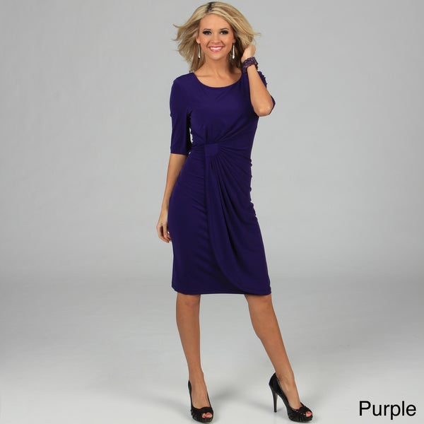 Connected Apparel Women's Purple Matte Jersey Elbow Sleeve Dress