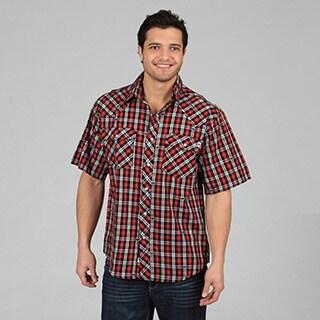 Farmall IH Men's Western Plaid Snap-Button Short-Sleeve Shirt