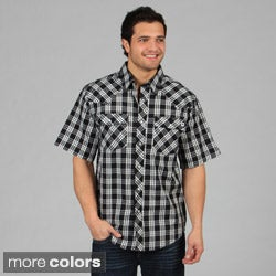 Farmall IH Men's Western Plaid Snap-Button Standard-Collar Shirt