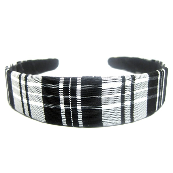 Crawford Corner Shop 1-inch Black and White Plaid Taffeta Headband