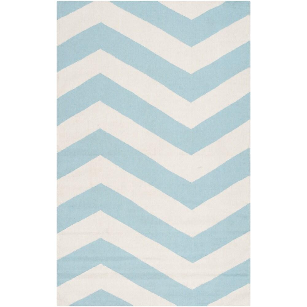 SURYA Handwoven SkyChevron Aqua Wool Rug (3'6 x 5'6), Blue