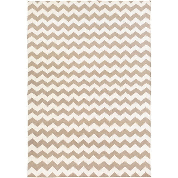Hand-woven DesertChevron Taupe Wool Area Rug - 8' x 11'