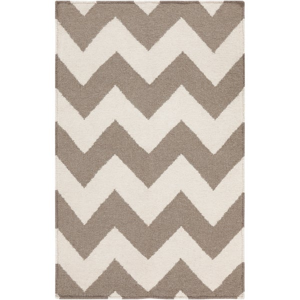 Hand-woven DesertChevron Taupe Wool Area Rug (8' x 11')
