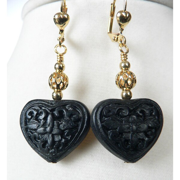 'Bianca' Cinnabar Heart and Flower Dangle Earrings