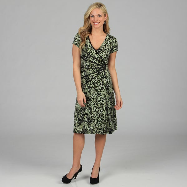 Connected Apparel Women's Floral Print Cap Sleeve Dress