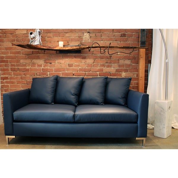 Decenni Custom Furniture 'Divina' Atlantic Blue Austrian Leather 8-foot Sofa