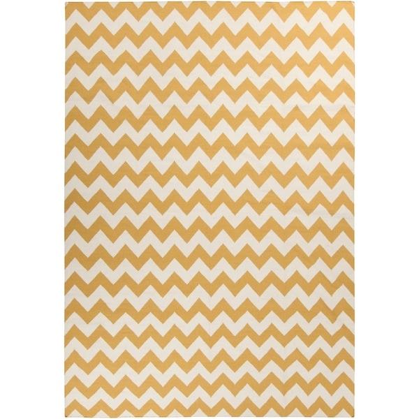 Hand-woven SandyChevron Golden Yellow Wool Area Rug - 8' X 11'