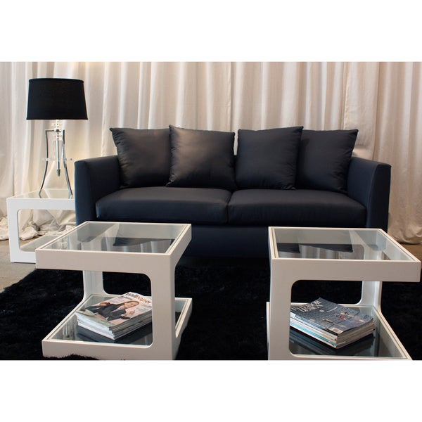 Decenni Custom Furniture 'Divina' Atlantic Blue Austrian Leather 7-foot Sofa