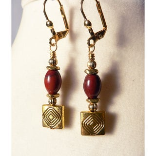 'Monique' Jasper and Gold Dangle Earrings