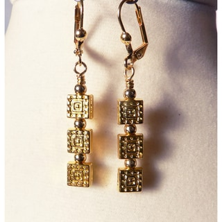 'Marisole' Textured Square Dangle Earrings