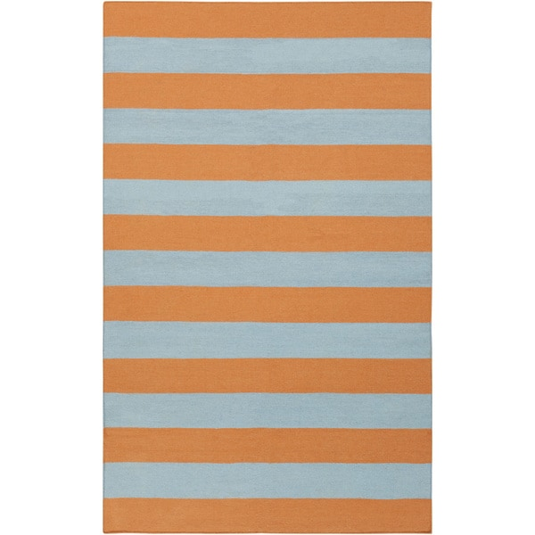 Hand-woven TangerineStripe Pumpkin Wool Area Rug - 9' x 13'
