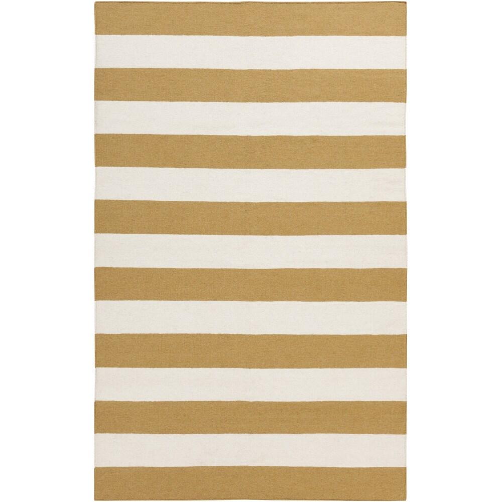 SURYA Handwoven Yellow Stripe Mustard Wool Rug (2' x 3'),...