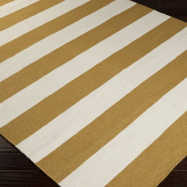 Hand-woven CamelStripe Mustard Wool Area Rug - 5' x 8'