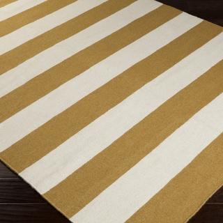 Handwoven CamelStripe Mustard Wool Rug (5' x 8')