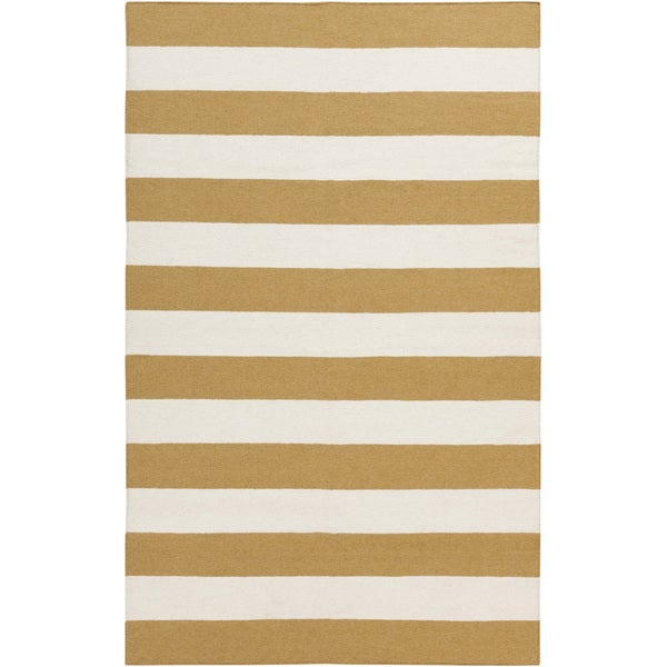 Hand-woven Yellow Stripe Mustard Wool Area Rug - 8' x 11'