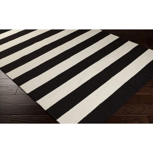 Hand-woven Jailhouse Stripe Jet Black Wool Rug (8' x 11')