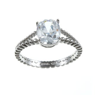La Preciosa Sterling Silver Clear Cubic Zirconia Engagement-style Ring
