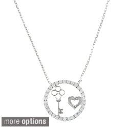 La Preciosa Sterling Silver CZ Circle, Heart and Key Necklace
