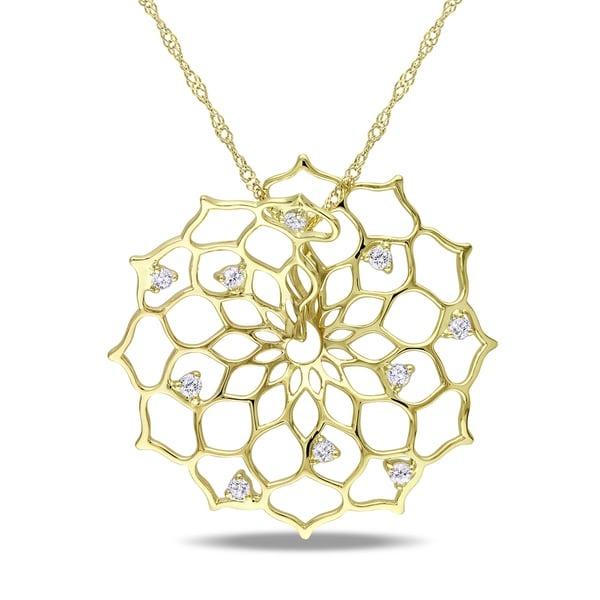 Shira Design 14k Gold 1/8ct TDW Diamond Flower Necklace
