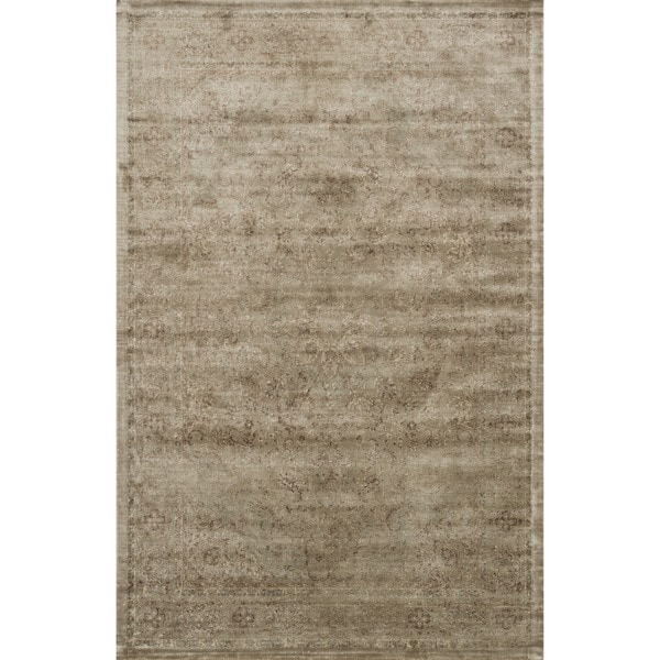 Traditional Distressed Taupe Floral Rug