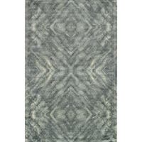 Abstract Distressed Mist Grey/ Teal Rug