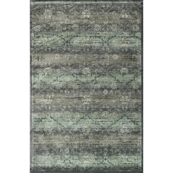 Traditional Distressed Grey/ Teal Floral Damask Rug