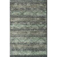 Traditional Distressed Grey/ Teal Floral Damask Rug